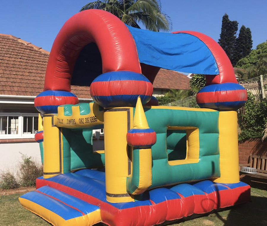 boys jumping castle