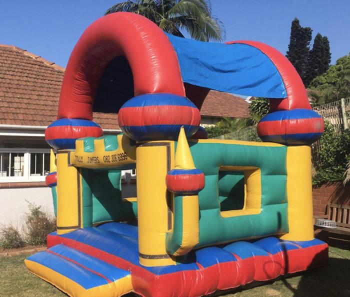 boys jumping castle